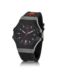 Maserati Potenza Black Stainless Steel And Silicone Strap Men's Watch