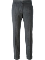 Etro Striped Cropped Trousers Grey