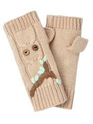 Yumi Embroidered Owl Fingerless Mittens Brown