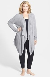 Plus Size Women's Barefoot Dreams Drape Front Cardigan Pewter