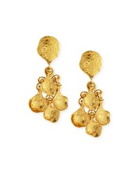 Gold Plated Hammered Disc Clip Drop Earrings Gold Jose And Maria Barrera