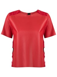 Andrea Bogosian Leather Shortsleeved Top Red