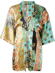 Ermanno Gallamini Printed Kimono Yellow And Orange