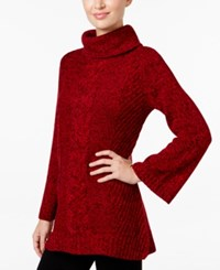 Charter Club Bell Sleeve Tunic Sweater Only At Macy's New Red Amore Combo