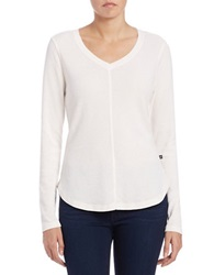 William Rast Roundneck Thermal Knit Top White