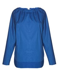 Marni Tie Back Coated Poplin Blouse Blue