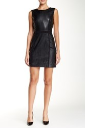 Vakko Sleeveless Laser Cut Pleather Sheath Dress Black