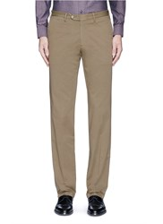 Canali Regular Fit Stretch Cotton Chinos Brown
