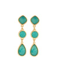 Nakamol Long Golden Triple Drop Agate Earrings Turquoise