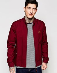 Pretty Green Harrington Jacket In Burgundy Burgandy