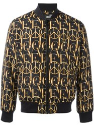 Love Moschino Peace Print Bomber Jacket Black