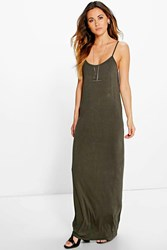 Boohoo Strappy Racer Back Maxi Dress Khaki