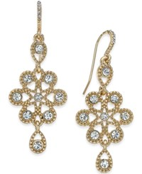 Charter Club Gold Tone Snowflake Inspired Crystal Drop Earrings Only At Macy's