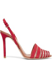 Valentino Mesh Trimmed Suede Sandals Red