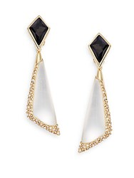 Alexis Bittar Lucite Swarovski Crystal And 10K Yellow Gold Drop Earrings Gold Silver