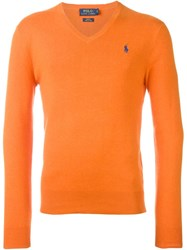 Polo Ralph Lauren Embroidered Logo Jumper Yellow And Orange