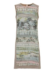 Betty Barclay Sleeveless Dress With Print Panel Brown