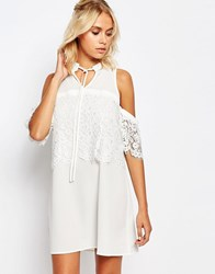 Fashion Union Cold Shoulder Dress With Lace Floral Detail White
