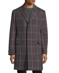 Luciano Barbera Windowpane Check Wool Overcoat Gray Multi