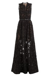Elie Saab Sequin Embellished Floor Length Gown With Lace Black