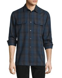 Vince Plaid Flannel Military Shirt Blue Gray Blue Gray