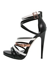 Little Mistress Theia Platform Sandals Black White Bronze