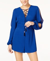 Material Girl Juniors' Cold Shoulder Lace Up Romper Only At Macy's Surf The Web