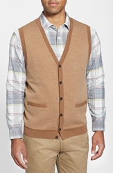 Nordstrom Merino Wool Button Front Sweater Vest Tan Camel