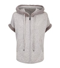 Max And Moi Lois Mink Trim Short Sleeve Hoodie Female Dk Grey