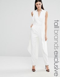 Lavish Alice Tall Sleeveless Tuxedo Jumpsuit White