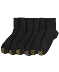 Gold Toe Women's Turn Cuff 6 Pack Socks Black
