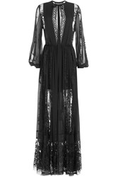 Elie Saab Floor Length Dress With Silk And Lace Black