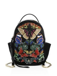 Alexander Mcqueen Embroidered Silk Backpack Black Multi