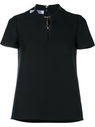 Valentino Short Sleeve Top With Elephant Necklace Black