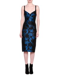 Stella Mccartney Floral Brocade Bustier Dress Black Blue