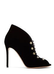 Gianvito Rossi Miral Lace Up Velvet Stiletto Boots Black
