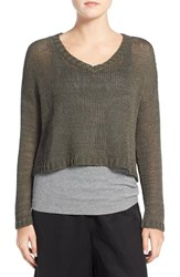 Eileen Fisher Women's Organic Cotton Tape Yarn V Neck Boxy Sweater Oregano