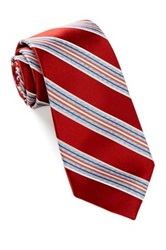 Alara Silk Satin Rib Stripe Tie Red