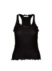 Araks Ruffle Cotton Rib Jersey Tank Top Black