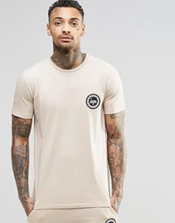 Hype T Shirt With Crest Logo Sand Beige