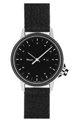 Miansai Men's 'M12' Leather Strap Watch 39Mm Black Black Shark