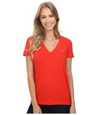 Lacoste Short Sleeve Cotton Jersey V Neck Tee Shirt Regal Red Women's Short Sleeve Pullover