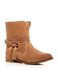 Splendid Pennie Tassel Flat Booties Dark Tan