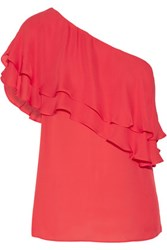 Haute Hippie One Shoulder Ruffled Silk Top Red
