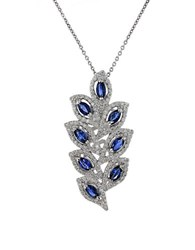Effy Diamond Sapphire And 14K White Gold Leaf Pendant Necklace 1.37 Tcw Silver