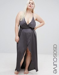 Asos Curve Ruched Side Satin Maxi Slip Charcoal Grey