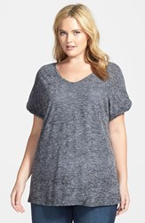 Plus Size Women's Sejour Sheer Jersey V Neck Tee Black