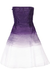 Oscar De La Renta Ombre Tiered Silk Organza Dress Purple