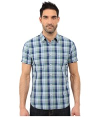 Lucky Brand Smart Military Plaid Shirt Green Blue Men's Short Sleeve Button Up Gray