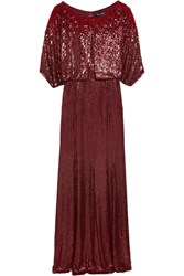 Jenny Packham Cape Effect Sequined Silk Voile Gown Merlot